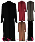 NEW WOMEN LADIES LONG LINE BOYFRIEND MAXI OPEN BLACK STRETCHY CARDIGAN SIZE 8-18