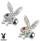 Authentic Playboy Bunny Multi Paved Gems Ear Cartilage Piercing Tragus Barbell