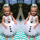 Frozen Snow Olaf Costume Cosplay Girls Gwon Kids Formal Sling Tutu Dress Skirt