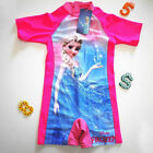 Girls Toddler FROZEN ELSA Bathers RASH SUN SUIT Rashie Swimwear Swimmer UPF 50+