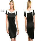 D48 Womens Black/White Contour Bodycon Stretch Party Pencil Elegant Midi Dress