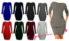 WOMENS LADIES STRETCHY FLEECE BAGGY TUNIC TULIP MINI DRESS W/POCKETS JUMPER TOP