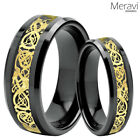 His & Her Black Tungsten Carbide Gold Celtic Dragon Mens Ring Wedding Band Set