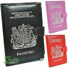 Leather Passport Wallet Cover Holder, UK, Northern Ireland & More Black Pink Red