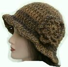 1920's LADIES CROCHET WINTER CLOCHE HAT knit hippie festival retro bella brown13