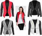 Women Quilted PVC Wet Leather Look Arm Sleeves Blazer Jacket Coat Top 8 10 12 14