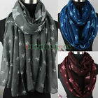 Allover Stars Print Long Scarf/ Infinity 2-Loop Cowl Circle Casual soft Scarf