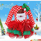 Christmas Dress Child Kids Girls Long Sleeve Santa Party Tops Skirt 1-6Y Clothes