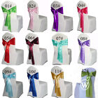 10 pcs Satin Chair Sashes 6x108inch Wedding Party Banquet Bow Decor Colors