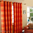 Morocco Striped Ready Made Eyelet Curtain Terracotta Decorative Curtain Ring Top