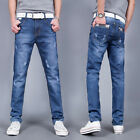 B9840 New Men's Blue Slim Fit Jeans Skinny Pencil Trousers Washed Denim Pants