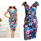 Crossover V Neck Floral Print Drape Party Dress In Size 8, 10, 12, 14