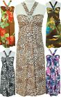 NWT Women Maxi Daisy-Ring Bandeau Self-Tie Halter Strap Dress Animal Floral