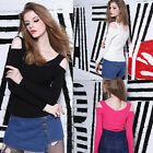 Sexy Lady V Neck Knit Cold Shoulder Crop Bodycon T Shirt Party Club Top Blouse F