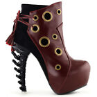 Punk Red/Brown Ring Lace-Up Bone Heel Platform Ankle Boots Sz 2.5/3/4/5/6/7/7.5