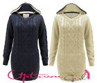 WOMEN LADIES WARM CABLE KNIT HOODED FRONT POCKETS LONG JUMPER MINI DRESS 10-18