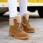 Warm snow ankle boots lace Up unskid chunky heels low faux suede camel