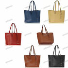 RED BROWN BLACK BEIGE BLUE Large Faux Leather Dual Handle Tote Shopper #297
