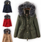 Women Luxurious Winter Warm Thick Faux Fur Hood Jacket Fleece Lined Parka Coat