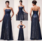 Sparkly SEQUINS Chiffon Long Evening Cocktail Prom Gown Wedding Bridesmaid Dress