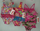 Toddler Girls Swimsuit-Flowers w/Pink Lace or Butterflies w/Blue Lace