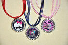 SET OF 3-MONSTER HUGH inspired Flat Bottlecap ORGANZA NECKLACES!