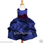 NAVY/PLUM DARK PURPLE PICK UP WEDDING FLOWER GIRL DRESS 6M 12M 18M 2 4 6 8 10 12