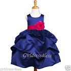NAVY/FUCHSIA HOT PINK WEDDING PICK UP FLOWER GIRL DRESS 6M 12M 18M 2 4 6 8 10 12