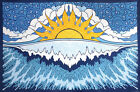 3D SUN WAVE-30 X 45 OR 60 X 90 TAPESTRY-BEDSPREAD-HAS LOOPS FREE GLASSES