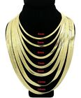 New Unisex 14K Gold Plated Flat Herringbone 4mm to 14mm Chain Necklace