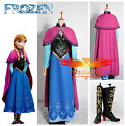 Hot Disney Movie Frozen Snow Queen ANNA Dress Cosplay Costume Shoes Full Set
