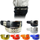 Внешний вид - Boys Girls Studded Leather Belt Solid Removable Metal Buckle Childrens Kids S-XL