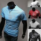 Personalized Men Clothing Fashion Chinese Style Printing Slim Round Neck T-Shirt