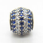 New S925 Sterling Silver Blue Nautical Pave Lights Charms fit European Bracelets