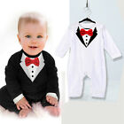 Baby Boys Newborn Outfits Romper Suit Bowknot Gentleman Overalls Clothes 0-36M