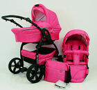 Pram Puschair 3in1 Baby stroller travel car seat swivel wheels unique pink color