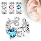 Carved Swirls with Center CZ Rhodium Plated Brass Non Piercing Ear Cuff image