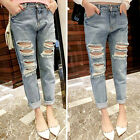 Denim Jeans Destroyed Distressed Women Blue Ripped Slim New Wash Loose Pants
