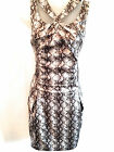 KAREN MILLEN Animal Snake Print Silk Evening Party Dress Ladies UK Size 10 EU 38