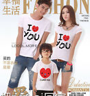 I LOVE YOU Lovers Heart MOM DAD Kids Family T-Shirt Lycra Cotton SKQYA6213
