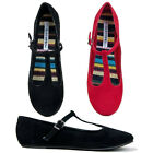 New Womens T-Strap Cute Round Toe Ballet Flats Shoes Faux-Sued Black Red LAURA-S
