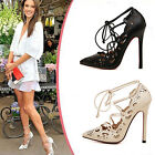 Womens Hollow Lace Up High Heels Shoes Size 3116#