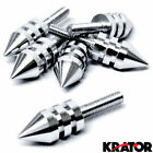 6 New Chrome Spike Motorcycle License Plate Frame Bolts Tag Fastener Screws