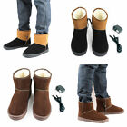 Men Winter Foot Warm USB Heated Insoles Warm Mid-Calf Ankle Snow Boots Shoes