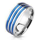 Stainless Steel Triple Blue IP Striped Men's Ring Wedding Band Size 9 - 13