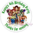 PERSONALISED BIRTHDAY TOY STORY STICKERS SEALS GIFT FAVOURS INVITES KIDCS82
