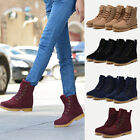 Womens Mens Genuine Leather Mid Calf Snow Boots Warm Winter Lace Up Shoes