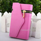 Voguish zipper Wallet Card Leather Skin Flip Case Cover Holster for iphone 5 5S