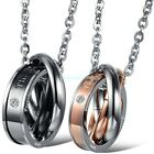 *The only eternal love* Stainless Steel Three Rings Pendant Couple's Necklaces