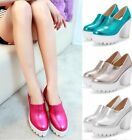 Womens Glitter Platform Chunky High Heel Ankle Boots Court Shoes 4 Colors